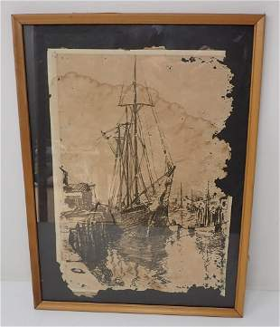 Pen & Ink Signed Ship Drawing