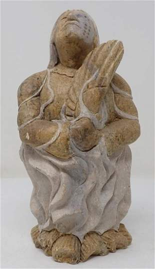 Carved Stone Indian Signed
