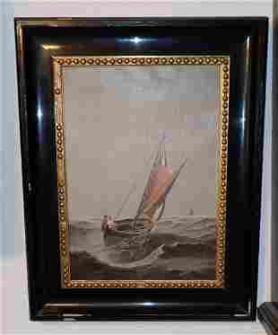 1902 GB Oil on Canvas Sail Boat Painting