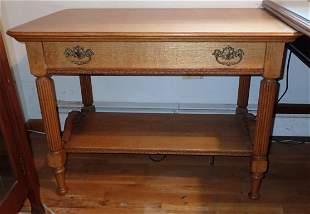 Oak Library Table w/ Fluted Legs