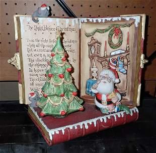 Ceramic Night Before Christmas w/ Music Box