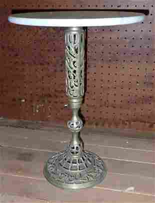 Brass Plant Stand with Marble Top