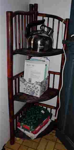 Rattan Corner Shelf and Contents