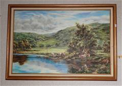 C Hawkins Cow Farm Pasture Oil on Canvas