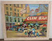 John Reilly Coney Island Oil on Board Painting
