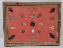 Framed Indian Artifacts / Arrowheads