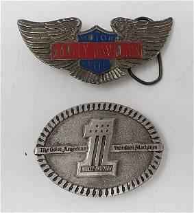 2 Harley Davidson Motorcycle Belt Buckles