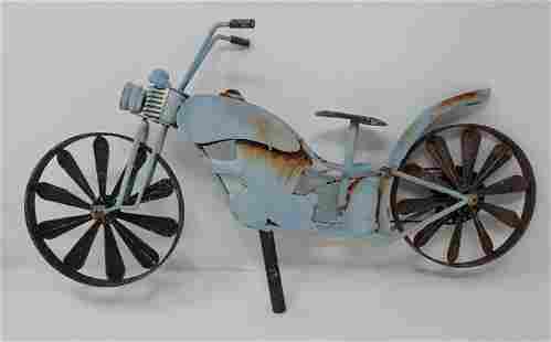Tin Motorcycle Outdoor Art Décor