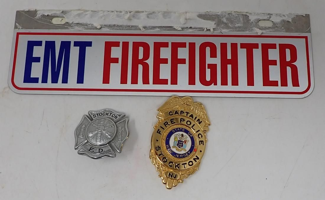 Stockton NJ Fire Department Police Badges