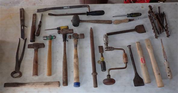 Hammers Pry Bars Drill Brace Misc Tools