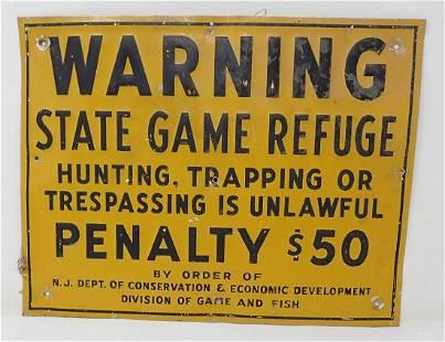 Vintage NJ State Game Refuge Sign