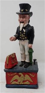 Cast Iron Uncle Sam Mechanical Bank