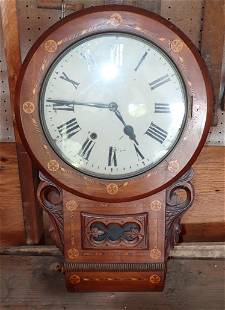Early Rosewood Inlaid Schoolhouse Clock
