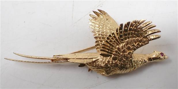 14k Gold Pheasant Brooch