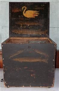 Primitive Folk Art Hand Painted Bait Tackle Box