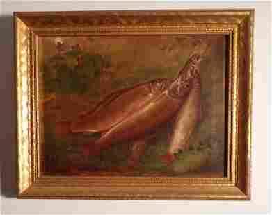 1813 Harrington Oil on Canvas Trout Scene Painting