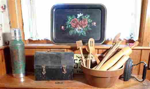 Toleware Tray Lunchbox Woodenware Sad Iron