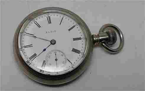 Elgin Pocket Watch Nickel Silver Train Case