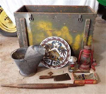 1940's NJ Fishing License Wood Box Coal Scuttle