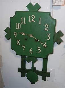Green Painted Mission Style Clock