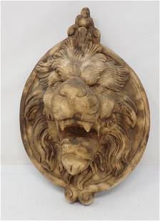 Plaster Lion Wall Plaque