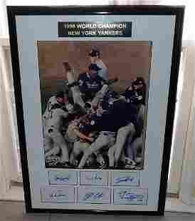 1998 New York Yankees Autographed Poster