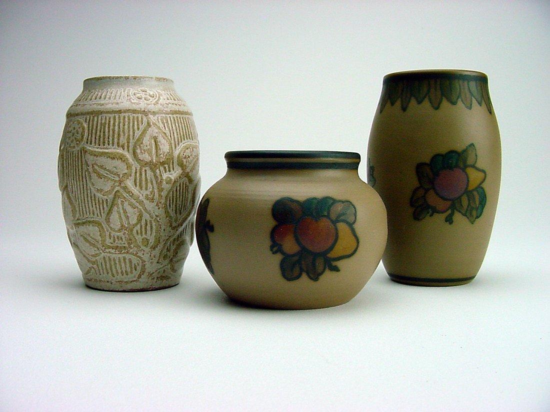 L. Hjorth Bornholm Denmark Pottery Vase Lot (3)