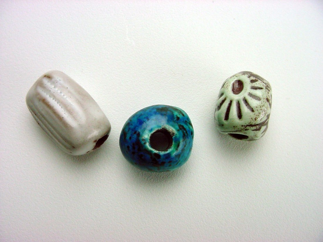Doyle Lane Pottery Beads lot (3) Los Angeles California - 3