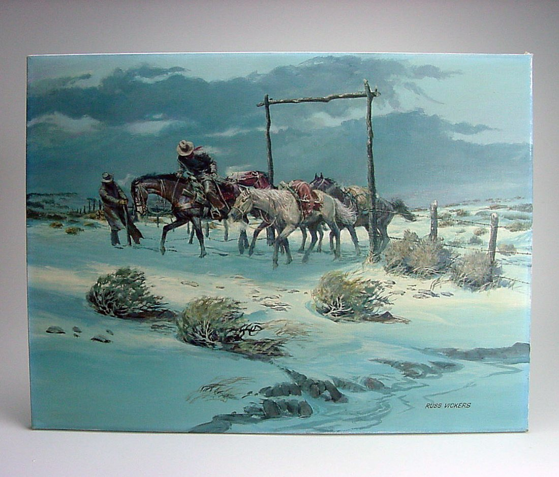 Russ Vickers (1923-1997) Western Oil Painting