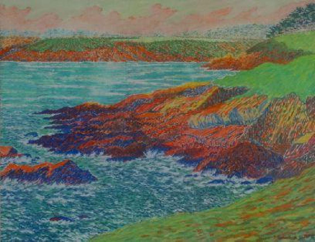 **French Pointillist School 19th century The coastal