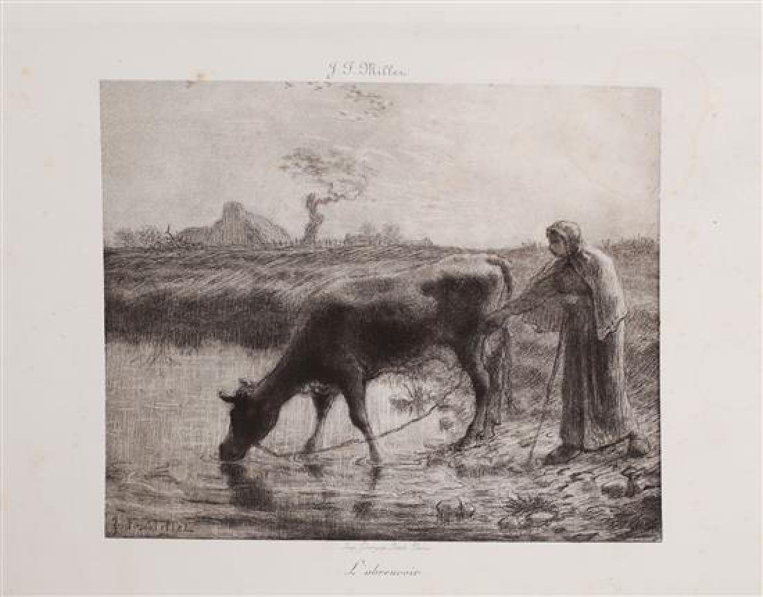Jean Francois Millet 1814-1875 (French) Cows drinking