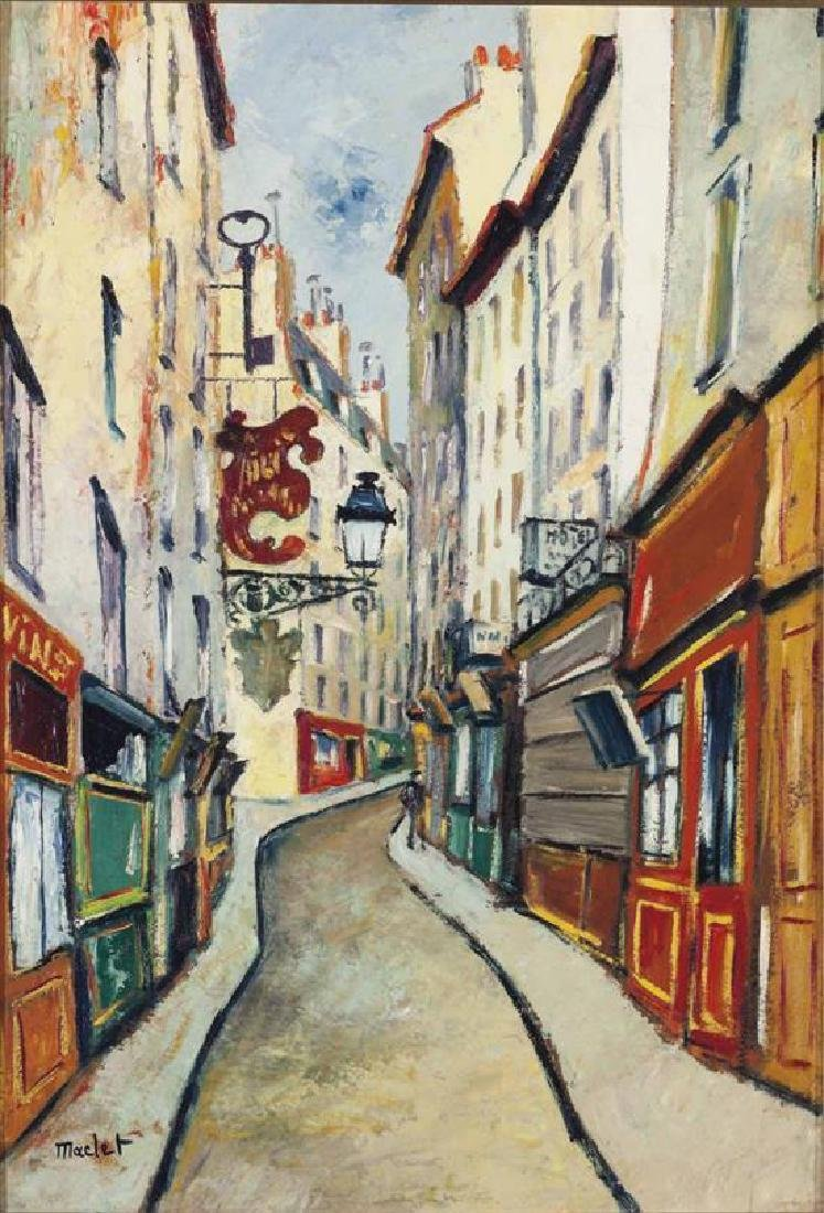 **Elisee Maclet 1881-1962 (French) Monmartre alley oil
