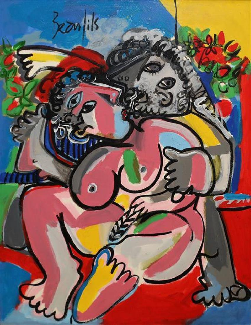 Jean-Luc Beaufils b.1953 (French) Couple oil on paper