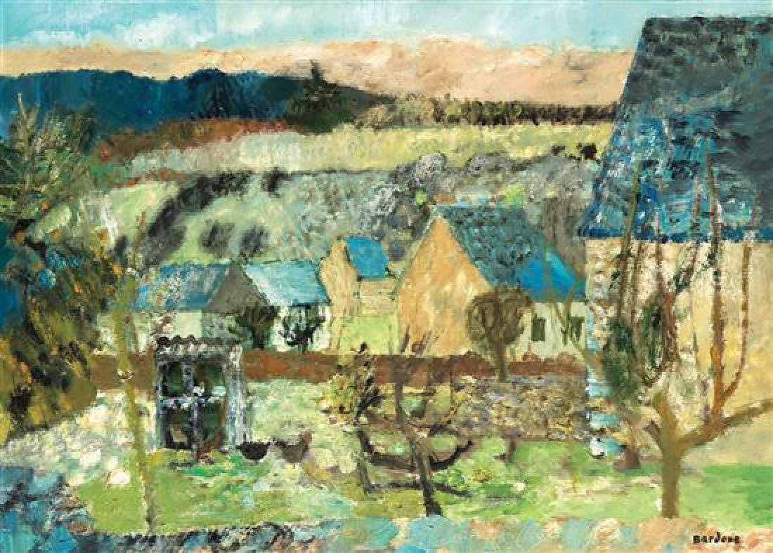 **Guy Bardone b.1927 (French) Landscape with houses oil