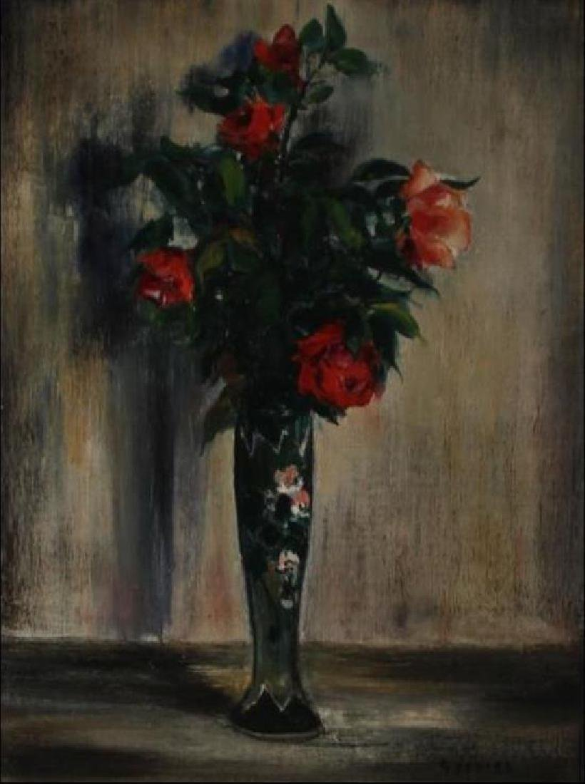 **Gaston Sebire 1920-2001 (French) Flowers oil on