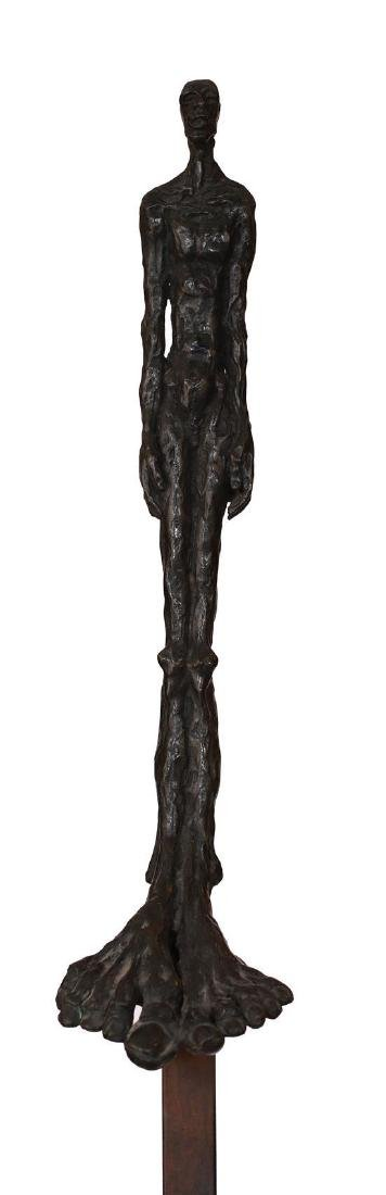Leo 20th century Man standing bronze with dark green