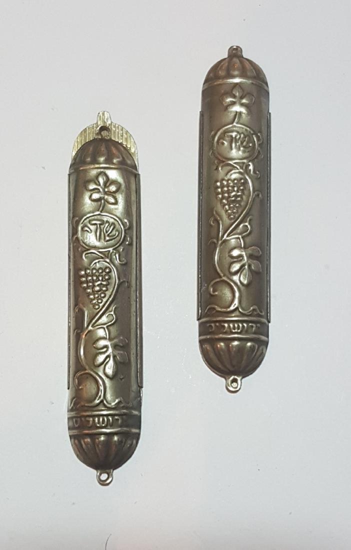 2 Mezuzah home silver Bezalel, Jerusalem , 1950's