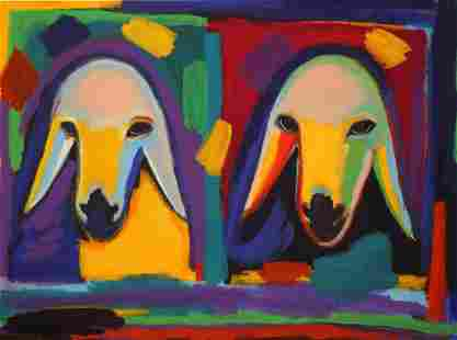 Menashe Kadishman 1932-2015 (Israeli) Two sheep heads