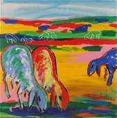 Menashe Kadishman 1932-2015 (Israeli) Herd acrylic on