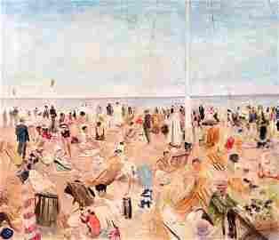 Lucien Adrion 1889-1953 (French) Beach scene, 1939 oil