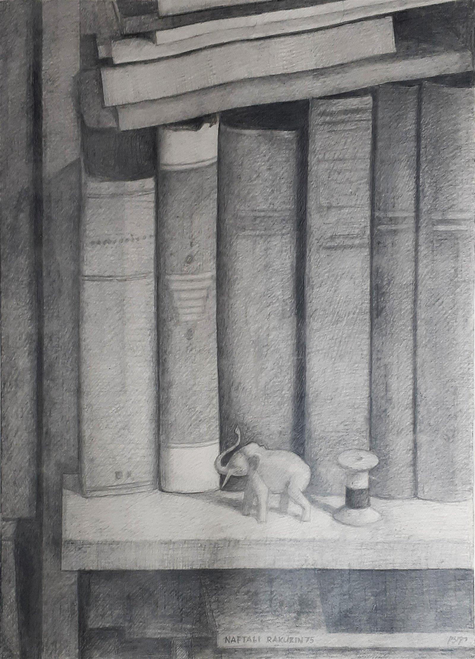 Naftali Rakuzin b.1948 (Russian) Books with elephant