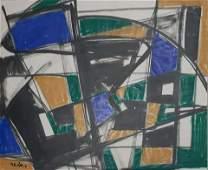 Raphael Mohar 19061962 Israeli Abstract watercolor