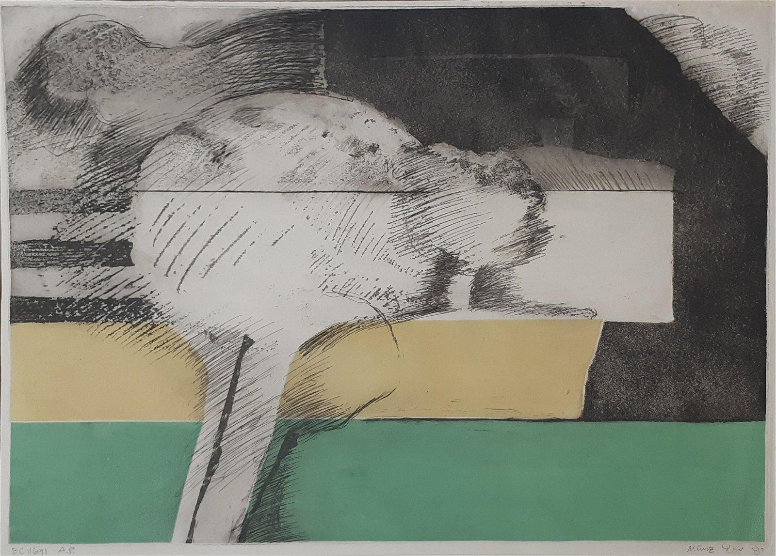 Rafi Munz b.1938 (Israeli) Untitled etching