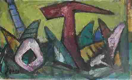 Marcel Janco 1895-1984 (Israeli) Abstract, 1960's oil