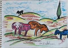 Menashe Kadishman 1932-2015 (Israeli) Herd in landscape