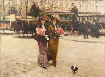 Victor Guerrier 1893-1968 (French) Street scene, ladies