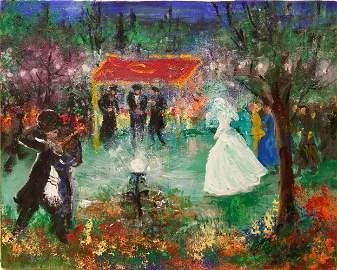 Huvy b.1927 (Israeli) Wedding scene oil on canvas