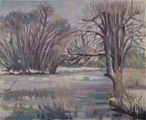 Pierre Valade 19091971 French Winter landscape oil