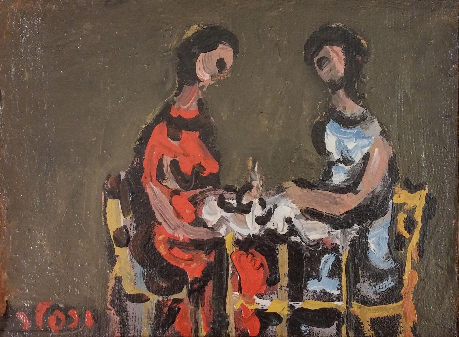Yaacov Wexler 1912-1995 (Israeli) Two women oil on