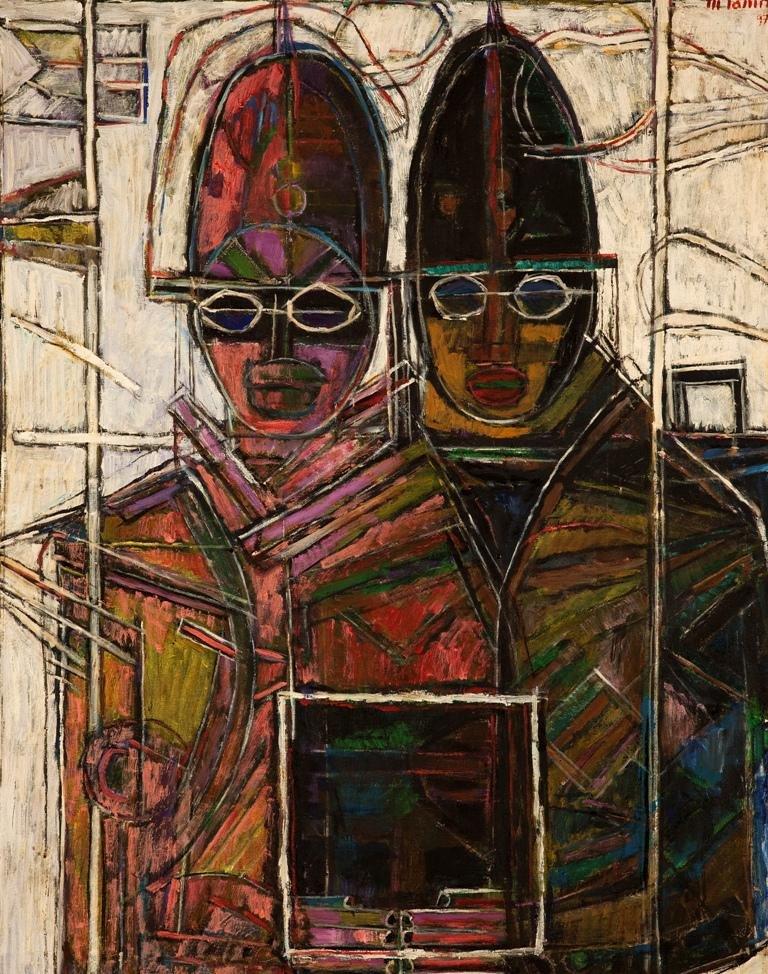 Moshe Tamir 1924-2004 (Israeli) Couple, 1997 oil on